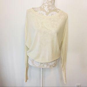 Zara Knit Batwing Sweater Cream & Gold Large 1190